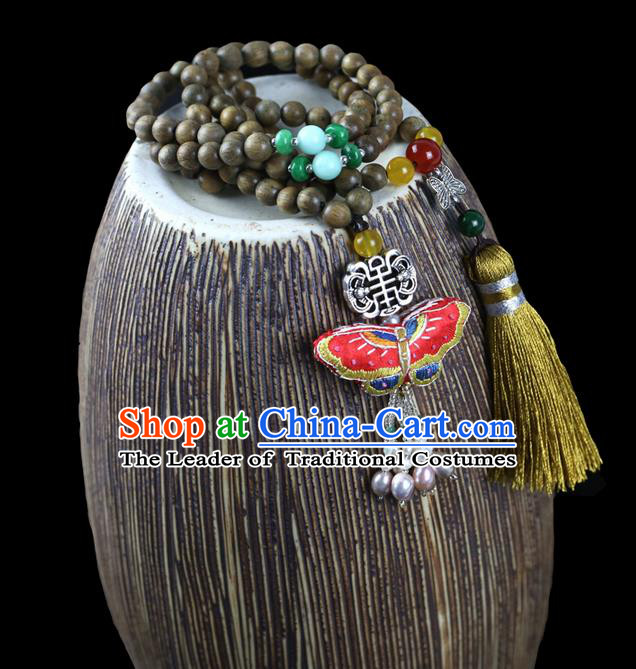 Traditional Chinese Accessories National Embroidered Necklace, China Sandalwood Beads Tassel Necklet for Women