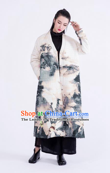 Traditional Chinese Costume Elegant Hanfu Printing Long Coat, China Tang Suit Dust Coat Clothing for Women