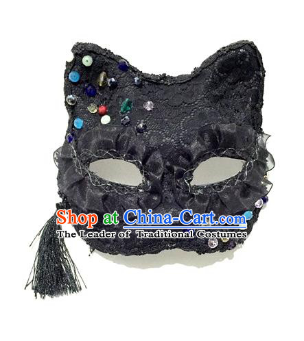 Top Grade Halloween Masquerade Accessories Ceremonial Occasions Handmade Model Show Mask, Brazilian Carnival Black Paillette Mask for Men