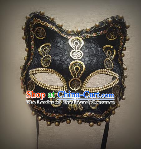 Top Grade Halloween Masquerade Accessories Ceremonial Occasions Handmade Model Show Mask, Brazilian Carnival Black Lace Mask for Men