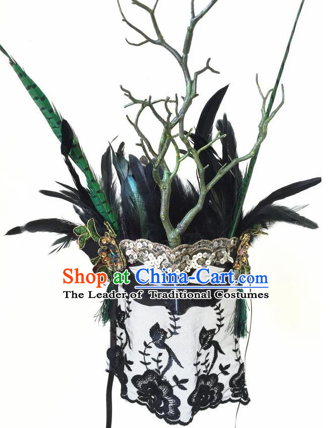 Top Grade Halloween Masquerade Accessories Ceremonial Occasions Handmade Model Show Mask Feather Headwear, Brazilian Carnival Veil Mask for Men