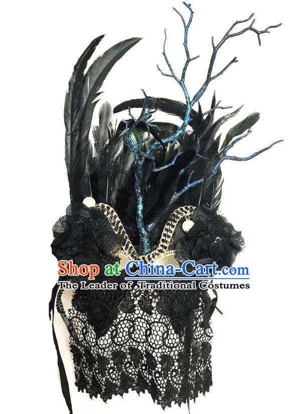 Top Grade Halloween Masquerade Accessories Ceremonial Occasions Handmade Model Show Mask Black Feather Headwear, Brazilian Carnival Lace Veil Mask for Men