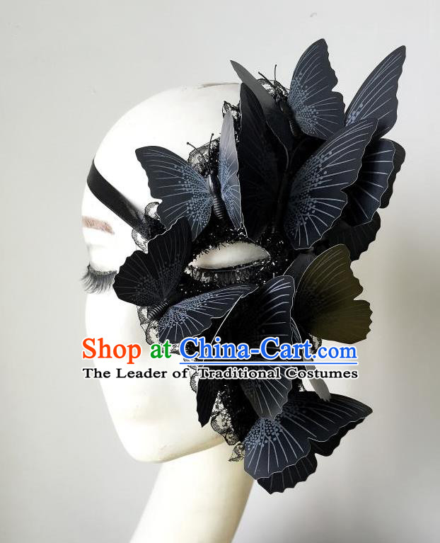 Top Grade Halloween Masquerade Ceremonial Occasions Handmade Model Show Black Butterfly Mask Headwear, Brazilian Carnival Half Mask for Women