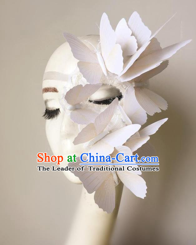 Top Grade Halloween Masquerade Ceremonial Occasions Handmade Model Show White Butterfly Mask Headwear, Brazilian Carnival Half Mask for Women