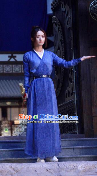 Traditional Ancient Chinese Young Lady Clothing, Princess Agents Chinese Southern and Northern Dynasties Martial Arts Swordswoman Costume and Headpiece Complete Set
