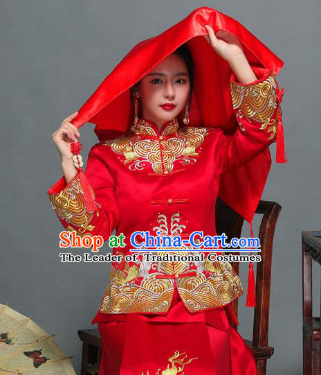 Traditional Ancient Chinese Wedding Embroidery Red Veil, Chinese Style Wedding Red Bridal Cover for Women