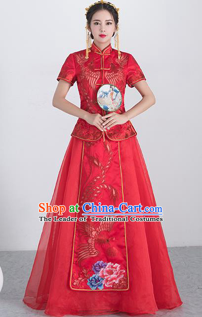 Traditional Ancient Chinese Wedding Costume Handmade XiuHe Suits Embroidery Phoenix Red Short Sleeve Dress Bride Toast Cheongsam, Chinese Style Hanfu Wedding Clothing for Women