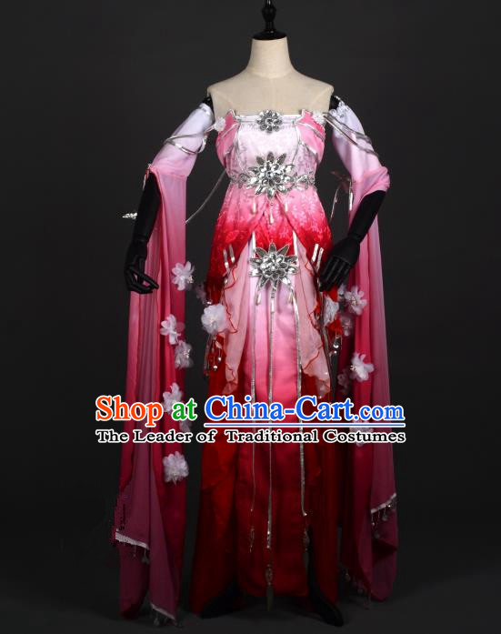 Chinese Ancient Cosplay Han Dynasty Young Lady Water Sleeve Costumes, Chinese Traditional Wine Red Dress Clothing Chinese Cosplay Swordsman Costume for Women
