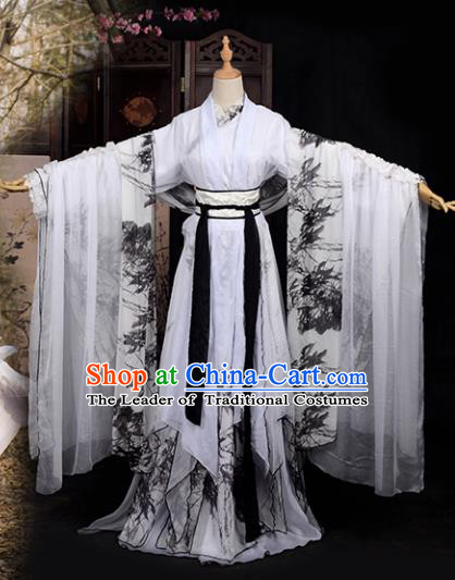 Chinese Ancient Cosplay Tang Dynasty Palace Lady Costumes, Chinese Traditional Printing Bamboo Hanfu Dress Clothing Chinese Cosplay Imperial Princess Costume for Women