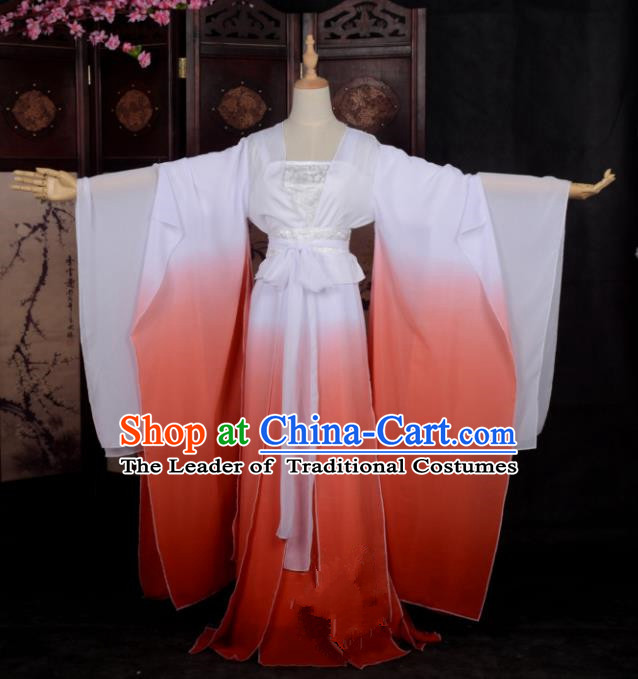 Chinese Ancient Cosplay Tang Dynasty Palace Lady Costumes, Chinese Traditional Red Hanfu Dress Clothing Chinese Cosplay Imperial Princess Costume for Women