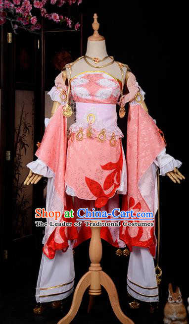 Chinese Ancient Cosplay Tang Dynasty Swordswoman Costumes, Chinese Traditional Pink Hanfu Dress Clothing Chinese Cosplay Imperial Princess Costume for Women