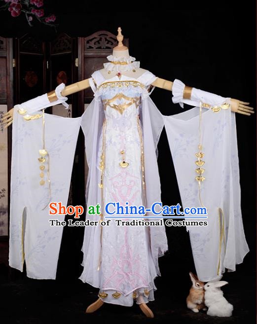 Chinese Ancient Cosplay Tang Dynasty Palace Lady Dance Costumes, Chinese Traditional White Hanfu Dress Clothing Chinese Cosplay Imperial Princess Costume for Women