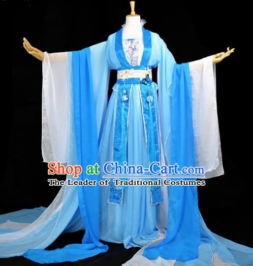 Chinese Ancient Cosplay Tang Dynasty Imperial Princess Costumes, Chinese Traditional Hanfu Dress Clothing Chinese Palace Lady Dance Costume for Women
