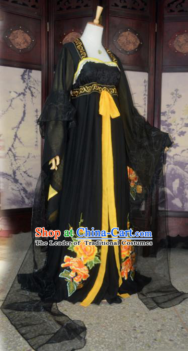Chinese Ancient Cosplay Tang Dynasty Imperial Princess Fairy Costumes, Chinese Traditional Hanfu Black Dress Clothing Chinese Palace Lady Dance Costume for Women
