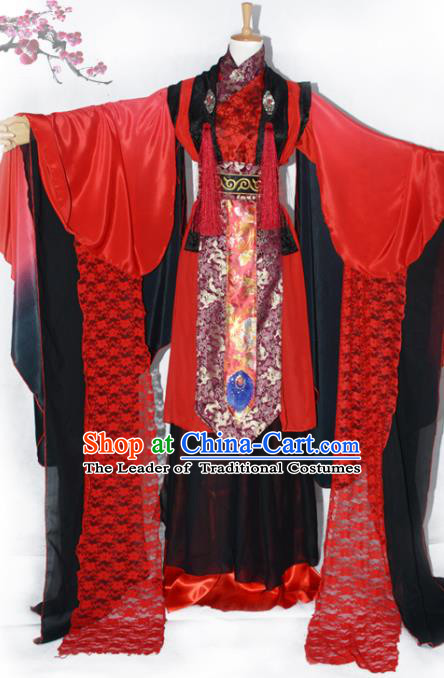 Chinese Ancient Cosplay Han Dynasty Prince Wedding Dress, Chinese Traditional Hanfu Red Clothing Chinese Swordsman Costume for Men