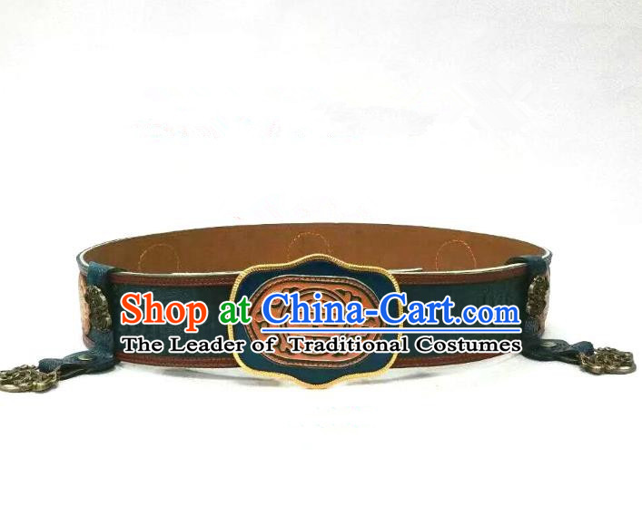 Traditional Handmade Chinese Mongol Nationality Handmade Leather Belts, China Mongols Mongolian Minority Nationality Waistband