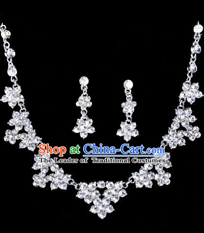 Top Grade Handmade Chinese Classical Jewelry Accessories Baroque Style Crystal Flowers Necklace and Earrings for Women