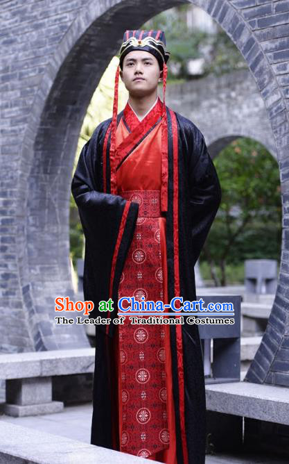Traditional Chinese Han Dynasty Emperor Hanfu Costume Wedding Red Long Robe, China Ancient Bridegroom Clothing for Men