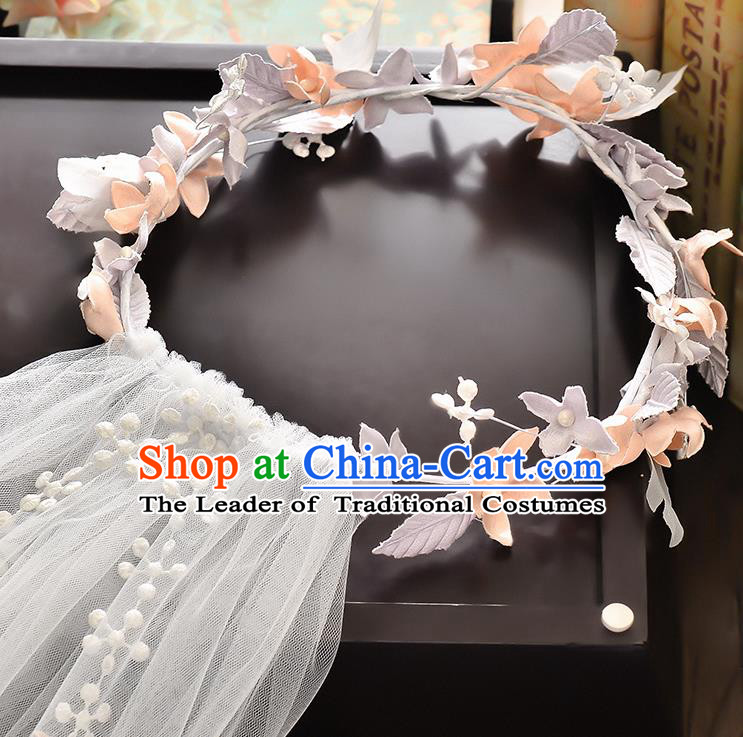 Top Grade Handmade Chinese Classical Hair Accessories Baroque Style Wedding Flowers Garland and Veil, Bride Hair Sticks Hair Clasp for Women