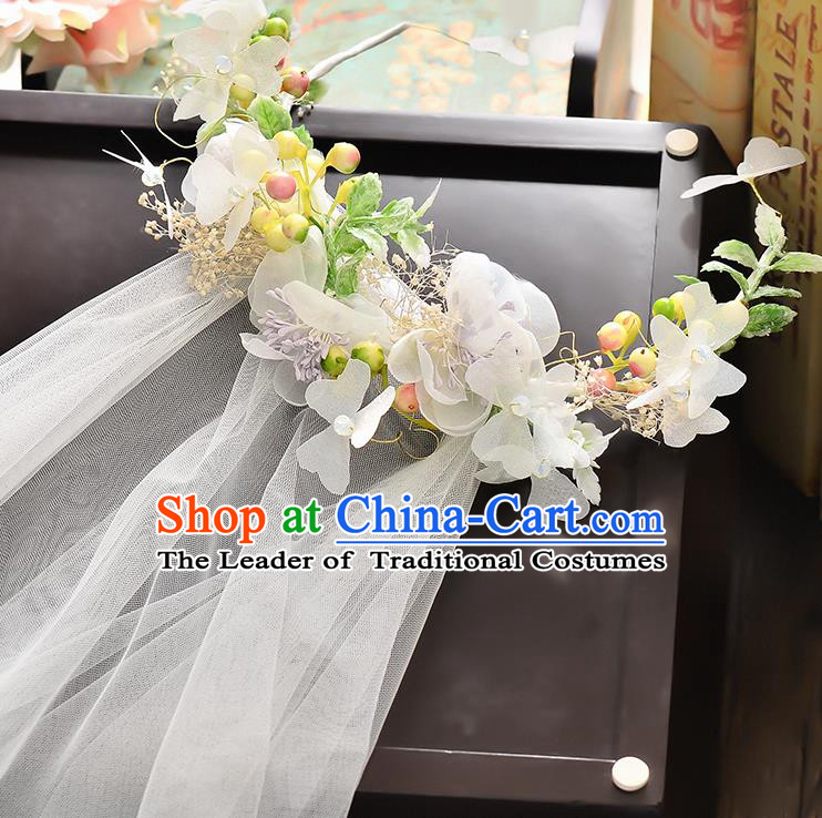 Top Grade Handmade Chinese Classical Hair Accessories Baroque Style Wedding White Flowers Garland and Veil, Bride Hair Sticks Hair Clasp for Women