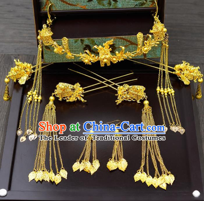 Traditional Handmade Chinese Ancient Classical Hair Accessories Xiuhe Suit Golden Tassel Hairpin Phoenix Coronet Complete Set, Hair Sticks Hair Jewellery Hair Fascinators for Women
