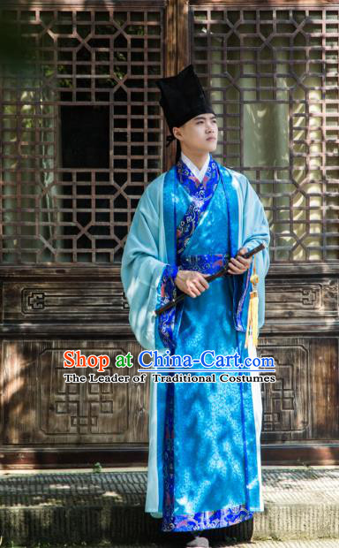 Traditional Chinese Han Dynasty Prince Hanfu Costume Blue Long Robe, China Ancient Scholar Embroidery Clothing for Men