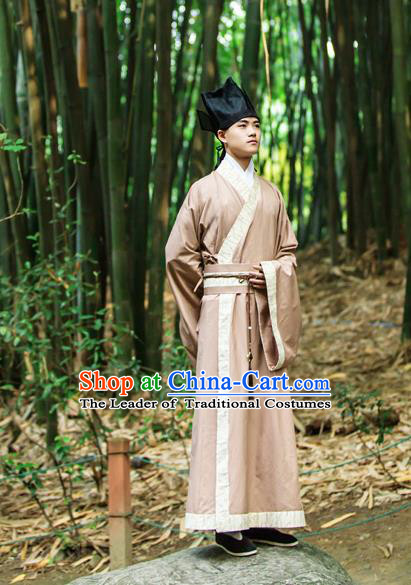 Traditional Chinese Han Dynasty Nobility Childe Hanfu Costume Printing Bamboo Long Robe, China Ancient Scholar Cloak Clothing for Men