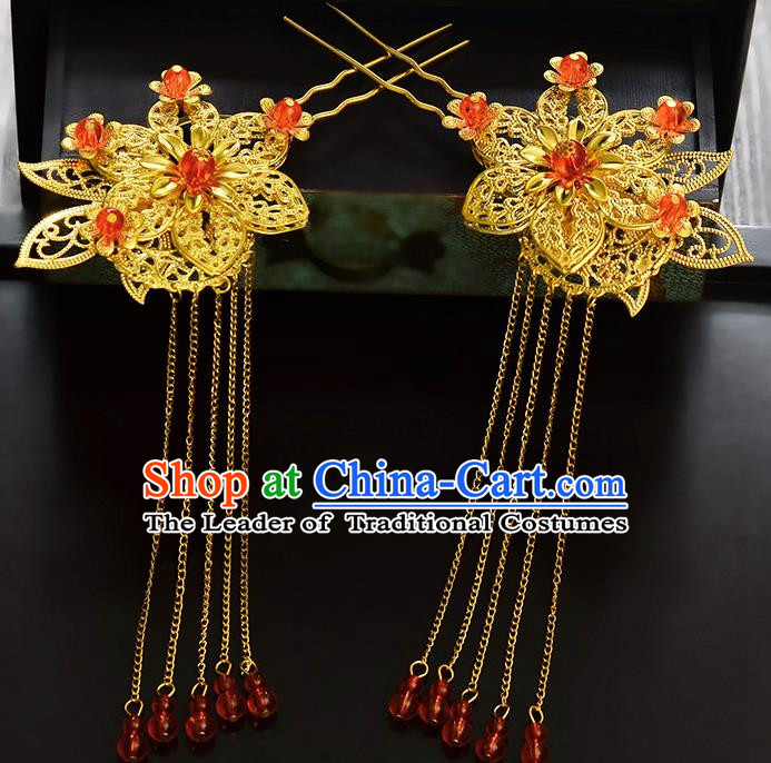 Traditional Handmade Chinese Ancient Classical Hair Accessories Barrettes Hanfu Hairpin Golden Tassel Step Shake, Bride Hair Fascinators Hairpins for Women