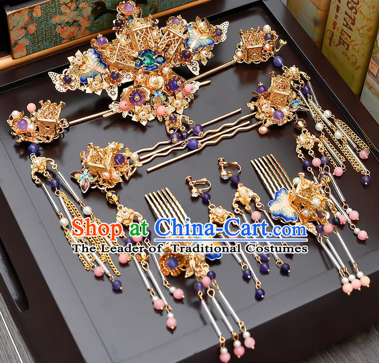 Traditional Handmade Chinese Ancient Classical Hair Accessories Xiuhe Suit Cloisonn Tassel Hairpin Step Shake Phoenix Coronet Complete Set, Hair Sticks Hair Jewellery Hair Fascinators for Women