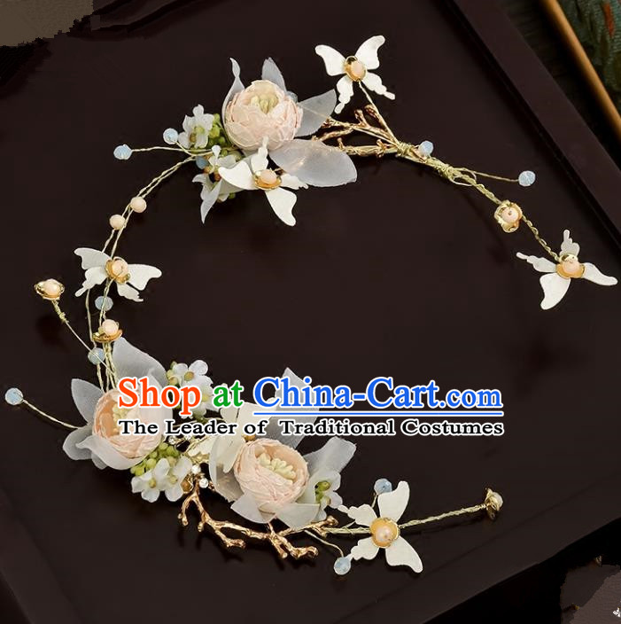 Top Grade Handmade Chinese Classical Hair Accessories Baroque Style Wedding Pink Flowers Headband Bride Hair Clasp for Women