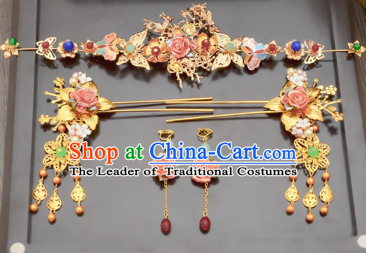 Traditional Handmade Chinese Ancient Classical Hair Accessories Xiuhe Suit Pink Flowers Tassel Hairpin Phoenix Coronet Complete Set, Step Shake Hair Sticks Hair Jewellery Hair Fascinators for Women