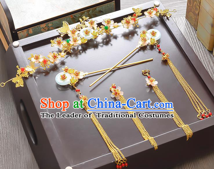 Traditional Handmade Chinese Ancient Classical Hair Accessories Xiuhe Suit Tassel Hairpin Phoenix Coronet Complete Set, Step Shake Hair Sticks Hair Jewellery Hair Fascinators for Women