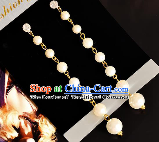 Top Grade Handmade Chinese Classical Jewelry Accessories Princess Wedding Earrings Bride Pearls Tassel Eardrop for Women