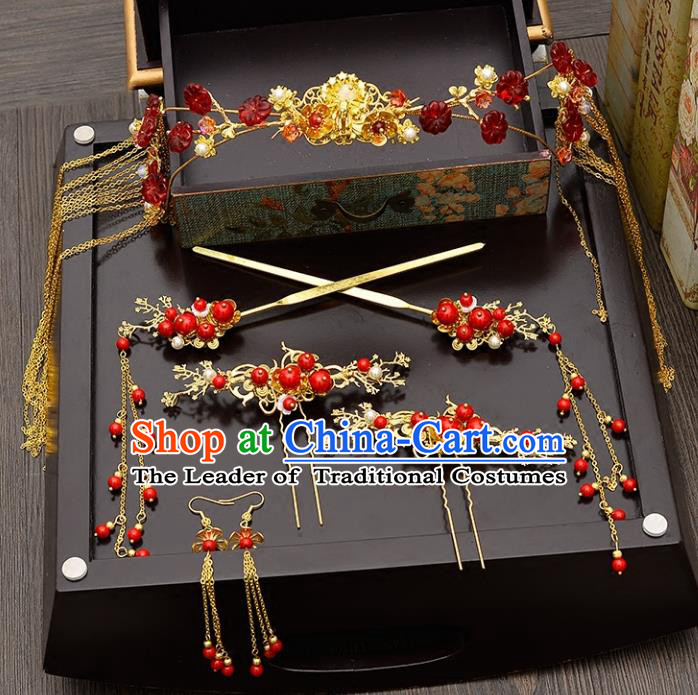 Traditional Handmade Chinese Ancient Classical Hair Accessories Xiuhe Suit Tassel Hairpin Phoenix Coronet Complete Set, Step Shake Hair Sticks Hair Jewellery for Women
