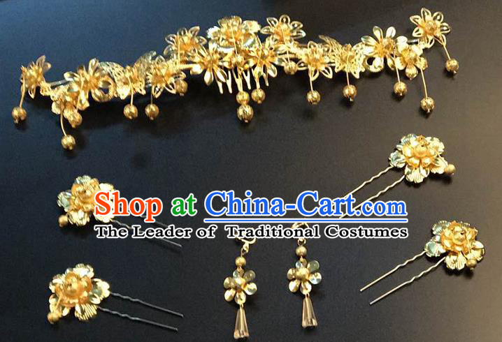 Traditional Handmade Chinese Ancient Classical Hair Accessories Xiuhe Suit Butterfly Hairpin Phoenix Coronet Complete Set, Step Shake Hair Sticks Hair Jewellery for Women