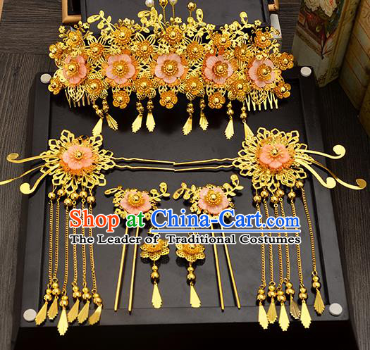 Traditional Handmade Chinese Ancient Wedding Hair Accessories Xiuhe Suit Pink Shell Tassel Phoenix Coronet Complete Set, Bride Hair Sticks Hair Jewellery for Women