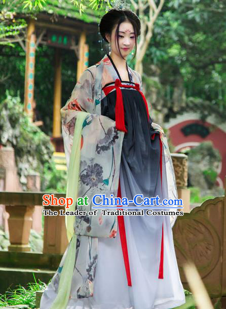 Traditional Chinese Tang Dynasty Imperial Consort Hanfu Printing Lotus Cardigan Costume, China Ancient Green Slip Dress Palace Princess Peri Clothing for Women
