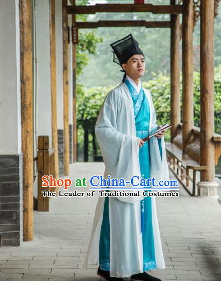 Traditional Chinese Han Dynasty Nobility Childe Hanfu Long Robe Costume, China Ancient Scholar Clothing for Men