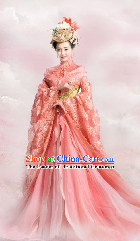 Traditional Ancient Chinese Mythologies Imperial Concubine Embroidery Dance Costume, Once Upon a Time Chinese Palace Lady Hanfu Dress Clothing for Women