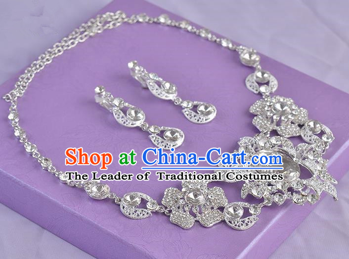 Top Grade Handmade Chinese Classical Jewelry Accessories Queen Wedding Crystal Flowers Royal Earrings and Necklace Bride Ornaments for Women