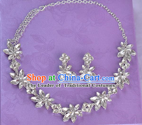 Top Grade Handmade Chinese Classical Jewelry Accessories Princess Wedding Crystal Flowers Royal Earrings and Necklace Bride Ornaments for Women