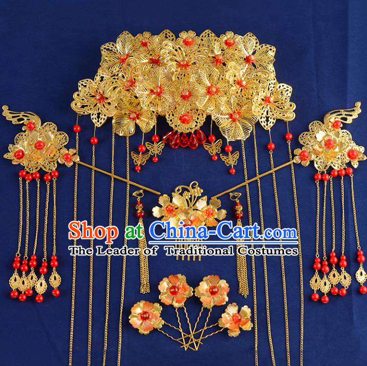 Traditional Handmade Chinese Ancient Wedding Hair Accessories Xiuhe Suit Phoenix Coronet Hairpins Complete Set, Bride Step Shake Hanfu Hair Fascinators for Women