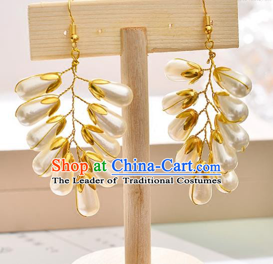 Top Grade Handmade Chinese Classical Jewelry Accessories Queen Wedding Pearls Earrings Bride Eardrop for Women