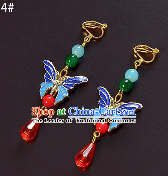 Top Grade Handmade Chinese Classical Jewelry Accessories Xiuhe Suit Wedding Cloisonne Butterfly Tassel Earrings Bride Hanfu Eardrop for Women