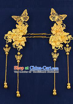 Traditional Handmade Chinese Ancient Wedding Hair Accessories Xiuhe Suit Golden Butterfly Tassel Hairpins, Bride Step Shake Hanfu Hair Sticks Hair Fascinators for Women