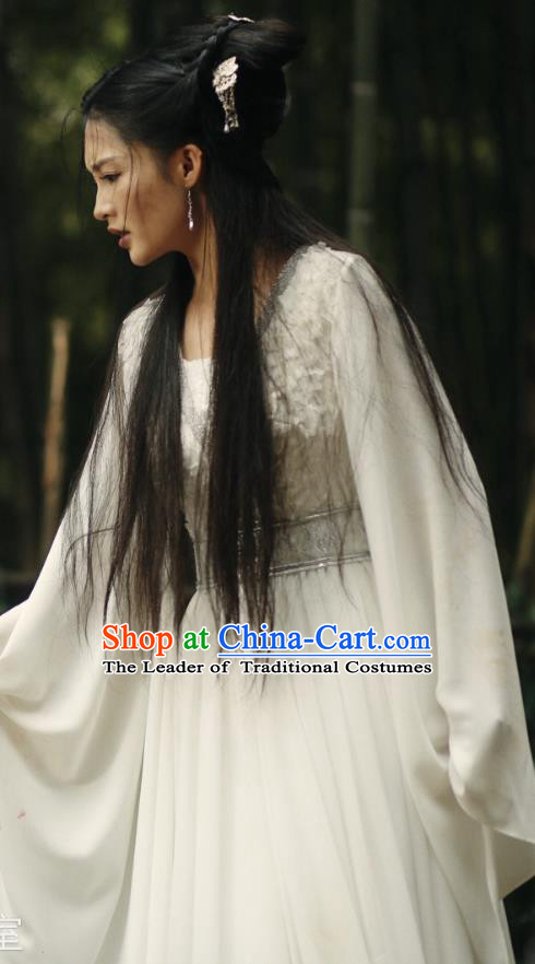 Traditional Chinese Northern and Southern Dynasties Palace Princess Embroidery Costume and Headpiece Complete Set, Princess Agents Chinese Ancient Young Lady Hanfu Dress for Women