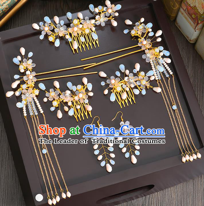 Traditional Handmade Chinese Ancient Wedding Hair Accessories Xiuhe Suit Ancient Costume Opal Phoenix Hairpins Complete Set, Bride Step Shake Hanfu Hair Sticks Hair Fascinators for Women