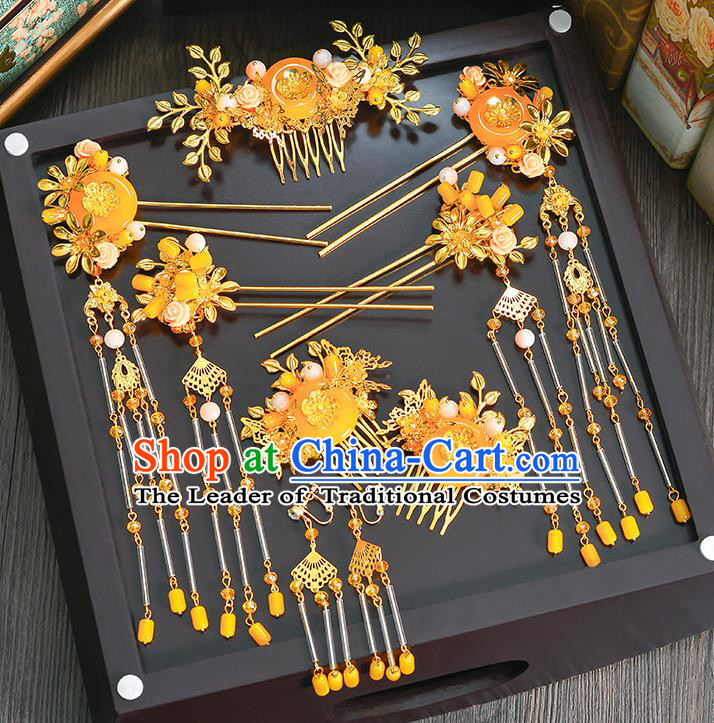 Traditional Handmade Chinese Ancient Wedding Hair Accessories Xiuhe Suit Phoenix Coronet Complete Set, Bride Palace Lady Step Shake Hanfu Yellow Jade Hairpins for Women