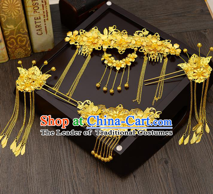 Traditional Handmade Chinese Ancient Costume Wedding Xiuhe Suit Hair Accessories Complete Set Golden Phoenix Coronet, Bride Palace Lady Green Tassel Step Shake Hanfu Hairpins for Women
