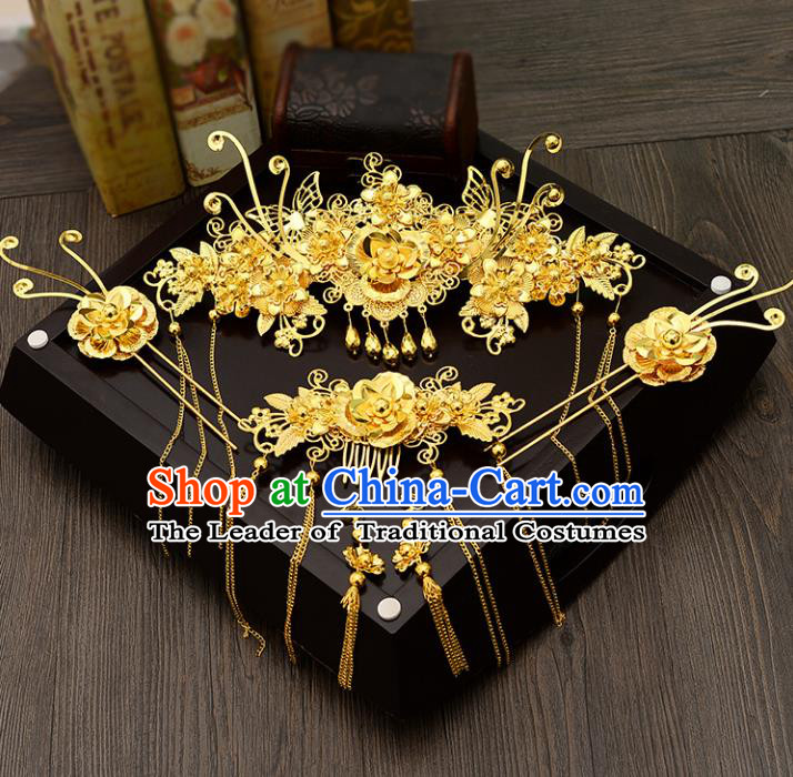 Traditional Handmade Chinese Ancient Costume Wedding Xiuhe Suit Hair Accessories Complete Set Golden Butterfly Phoenix Coronet, Bride Palace Lady Tassel Step Shake Hanfu Hairpins for Women